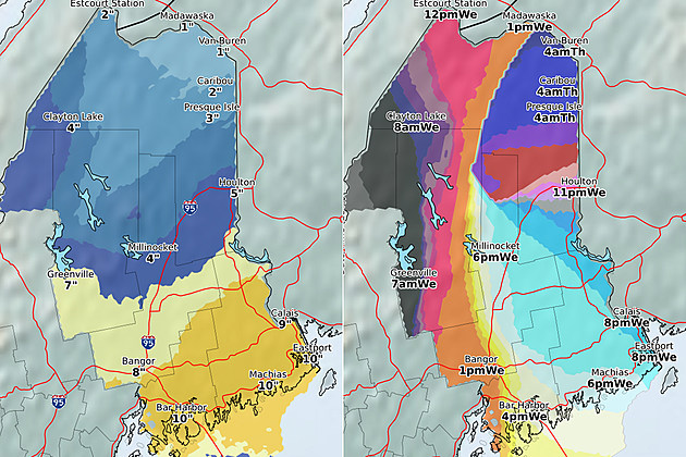 (L) Total accumulation (R) Start time, National Weather Service , CLICK FOR LARGER IMAGE